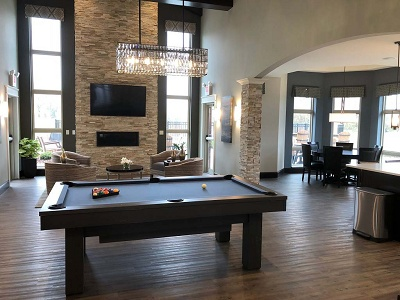 Paragon Place at Bear Claw Way - Clubhouse with Billiards and Fireplace Lounge