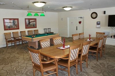 Liberty Square Senior living - Three Community Rooms with Patios and Barbeque Grills